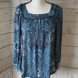 Kim Rogers blue paisley long sleeve blouse